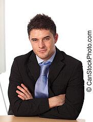 Businessman looking at camera