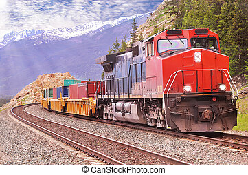 Freight train - Freight train in Canadian rockies