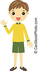 A boy waving - A boy wearing green shorts and yellow shirt...