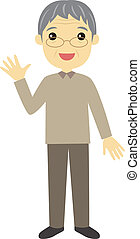 An elderly man waving - A standing elderly man waving his...