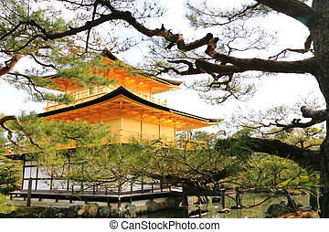 Kinkakuji Temple The Golden Pavilion famous place in Kyoto,...