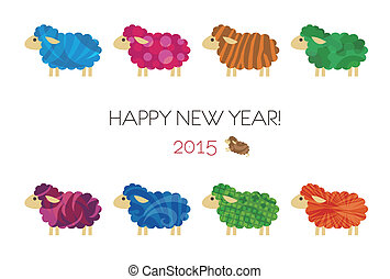 New year card with sheep - New year card with colorful...