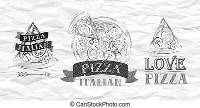 Pizza symbol crumpled paper - Pizza symbol, icons and a...