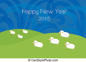 New year illustration with sheeps - New year card/white...