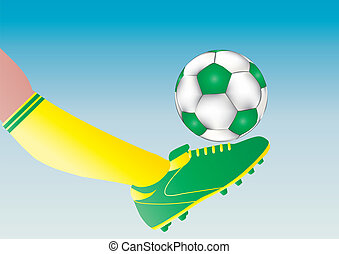 Goal - A Soccer Players boot kicking a football towards goal...