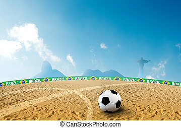 Beach soccer - Soccer ball on beach sand in summer time