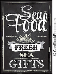 Poster Sea food chalk - Poster Sea food fresh sea gifts in...