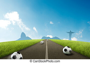 Road to Brazil - Soccer ball onroad with Brazilian skyline...