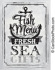 Poster Fish menu coal - Poster Sea food fresh sea gifts in...