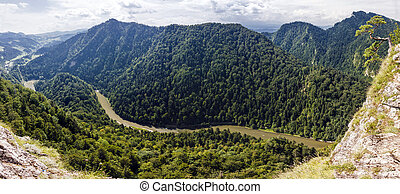 Panoramic photo of spectacular river canyon in Pieniny,...