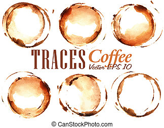 Set Traces Cup drawn pour coffee splashes and blots prints...