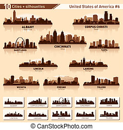 City skyline set. 10 city silhouettes of USA #6 - City...