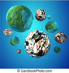 Trash Invasion of the Planet Earth - 3d image rendering of a...