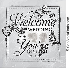 Welcome to our wedding drawing coal - Wedding lettering...