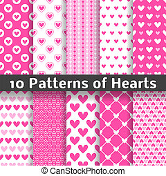 Heart shape vector seamless patterns tiling - 10 Heart shape...