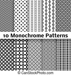 Monochrome different vector seamless patterns (tiling) - 10...