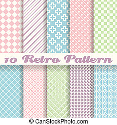 Pastel retro different vector seamless patterns (tiling) -...