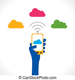 cloud computing concept - colorful cloud connect to moble...