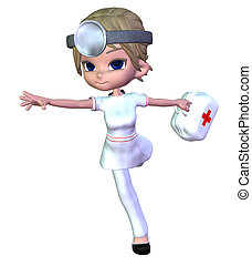 3d Cartoon doctor - Digitally rendered image of a cute...