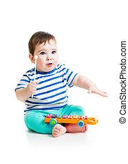 bebé, lindo, juego,  musical, juguetes