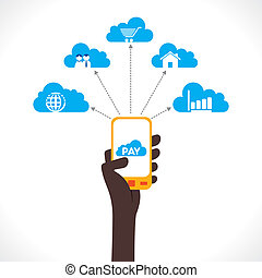 cloud computing concept - share or purchase product online...