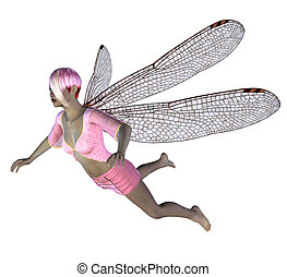 Fairy with pink dragonfly wings - Digitally rendered image...
