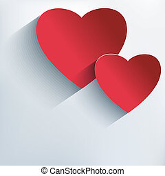 Stylish Valentines day background with 3d red hearts