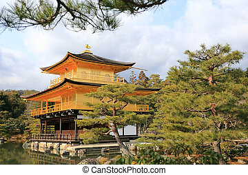 Kinkakuji Temple (The Golden Pavilion) famous place in...