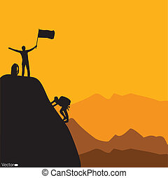 Mountain climbing, vector illustration