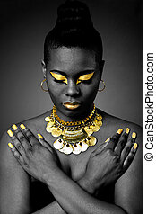 africano, tribal, Ouro