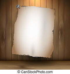 Empty paper on wooden background
