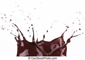 Splash of brownish chocolate isolated on white background