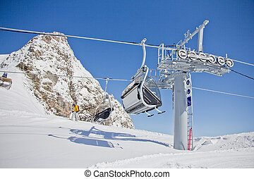 Chairlift in a ski resort ( Sochi, Russia ) - Chairlift in a...