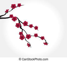 Red Flowers - vector tree branch with red flowers