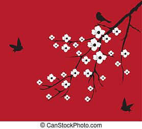Red Cherry - vector cherry blossom with birds on red...