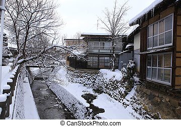 Japanese House with snow at in Takayama, Japan
