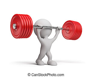 3d person with a barbell - 3d person raises the barbell 3d...