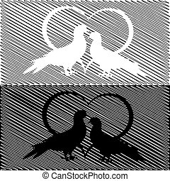Monochrome silhouette of two doves and a heart. Valentine's day and wedding card on a doodle background. Vector-art illustration