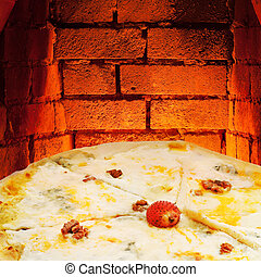 pizza quatro formaggi and hot brick oven - italian pizza...