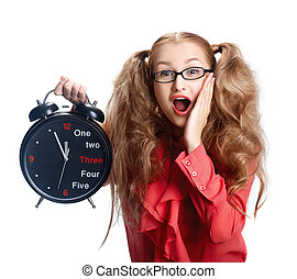 Beautiful girl in glasses with a big clock in panic