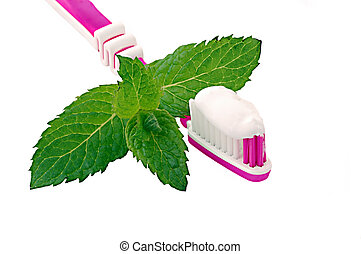 Toothbrush and toothpaste with mint - An image of a...