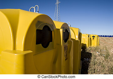 trash cans in recycling plant