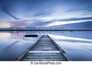 Fleet Lagoon - Sunset at the jetty on the Fleet Lagoon at...