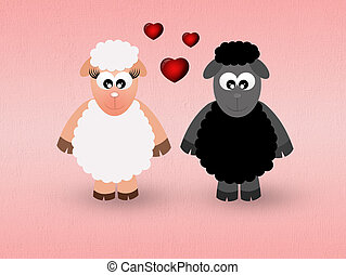 sheeps in love - illustration of sheeps in love