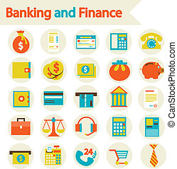 Banking and Finance set icons - Flat vector illustration eps...