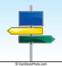 Road Sign - vector illustration of a road sign with blank...