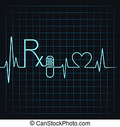 Heartbeat make Rx text,capsule and heart symbol stock vector