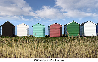 Beach Huts - Colorful Beach huts at Calshot on the Solent...