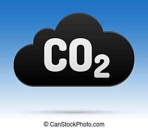 00268-co2-cloud-black - CO2 sign in cloud with shadow and...