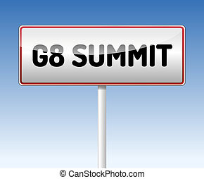 G8 Summit traffic board with blue sky background.